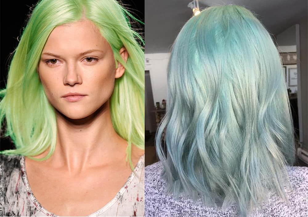 Ashen-Green-hair-color-colorful hair ideas