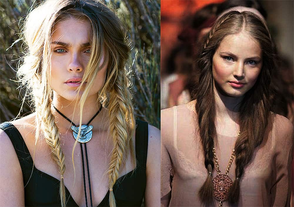 Boho-style-braided-pigtails-women's-long-hairstyles-cool-hair-ideas