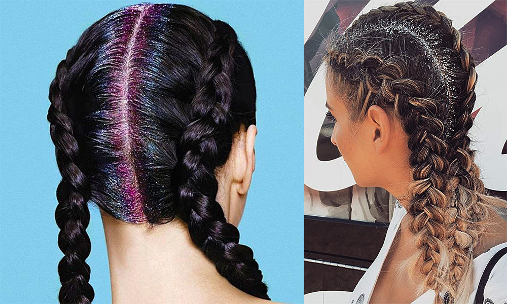 Braided-pigtails-glitter-roots
