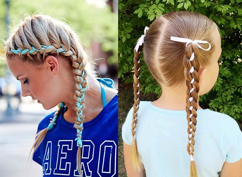 Braided-pigtails-with-ribbons-cool-hair-ideas-easy long hairstyles