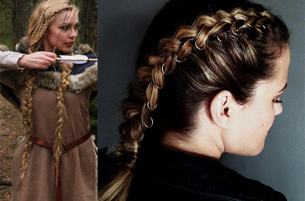 Braided-pigtails-women's-long-hairstyles-cool-hair-ideas-with-piercing-and-beads