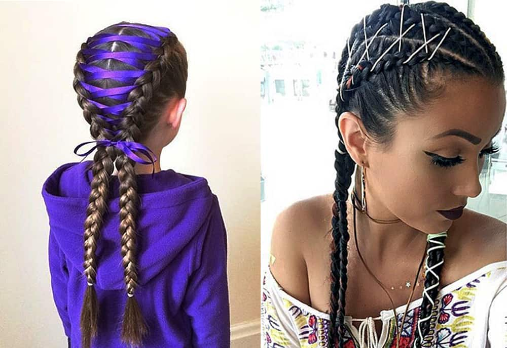 Corset-braided-pigtails-women's-long-hairstyles-cool-hair-ideas-Braided pigtails-cool hair ideas