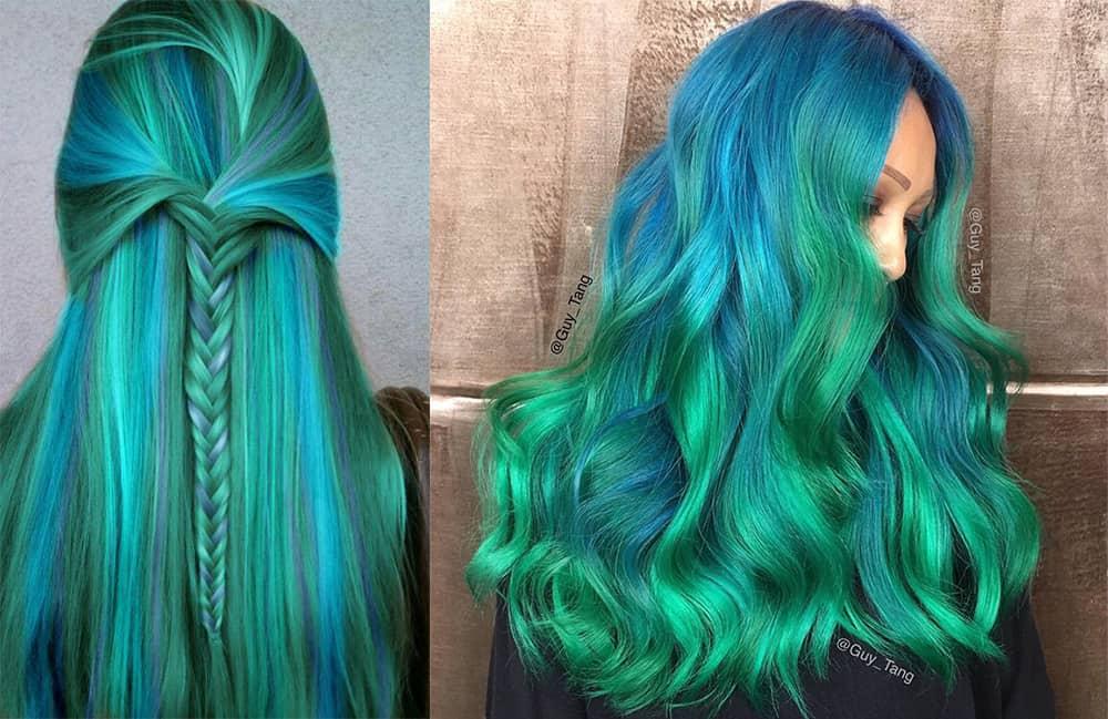 Green-hair-color-mermaid-fantasy-hair-color-colorful hair ideas