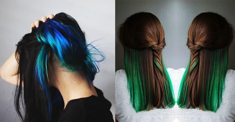 Hidden-green-hair-color-fantasy-hair-color-colorful-hair-ideas-colorful hair ideas
