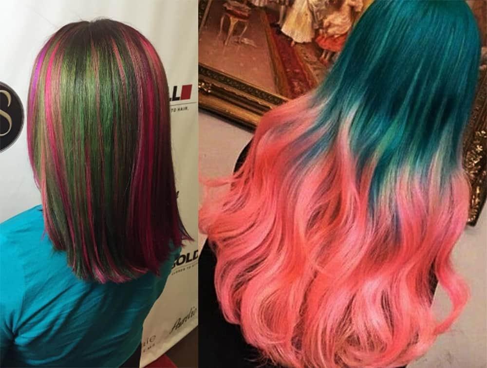 Winter-color-type-watermelon-hair-Watermelon hair-hair coloring ideas
