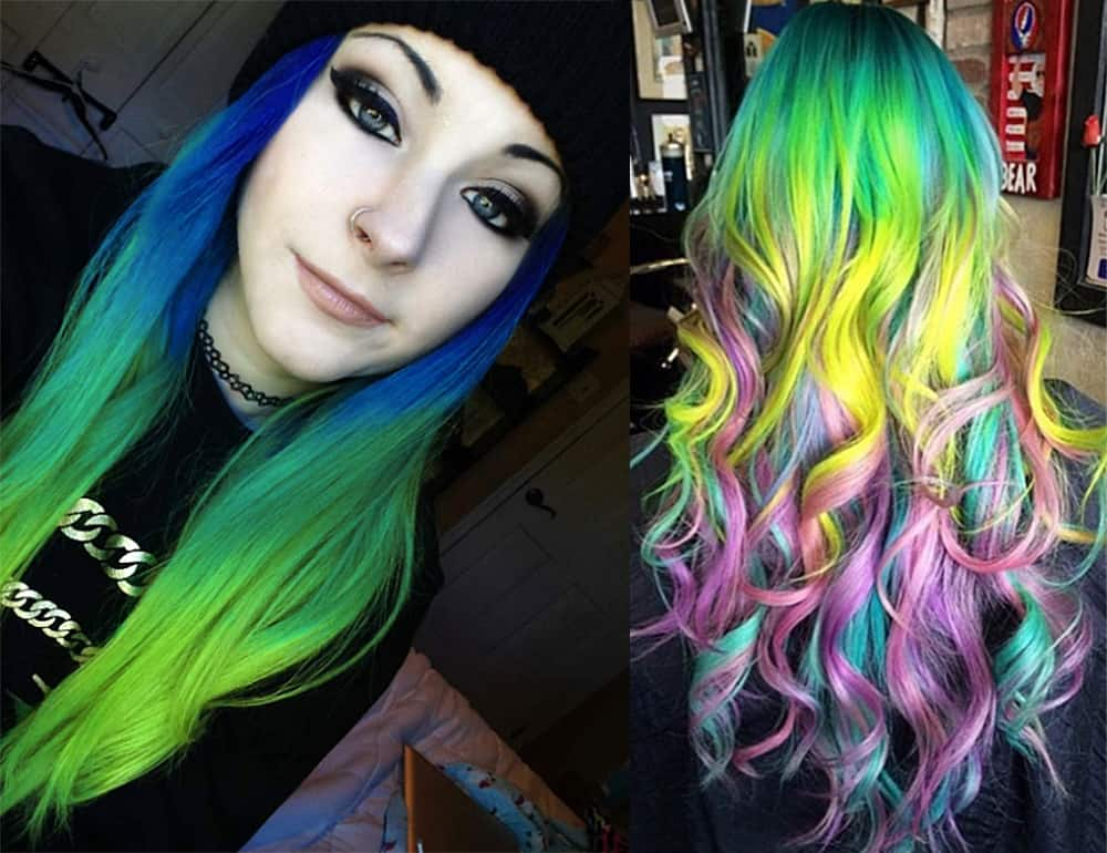 Yellow-hair-color-mermaid-hair-colorful-hair-ideas-blonde hair shades-colorful hair ideas