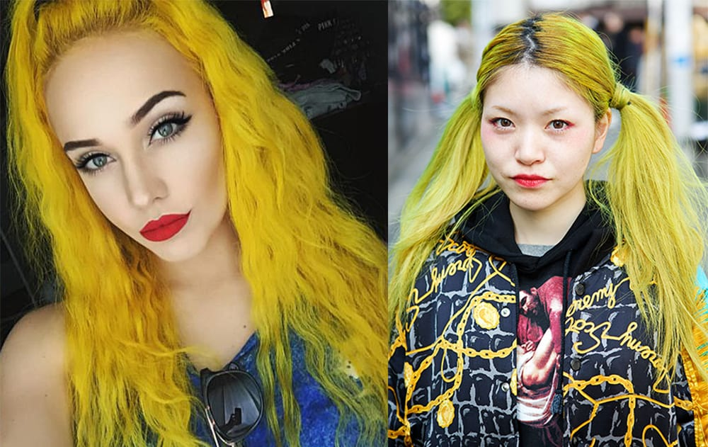Yellow-hair-color-with-eyes-colors-Yellow hair color