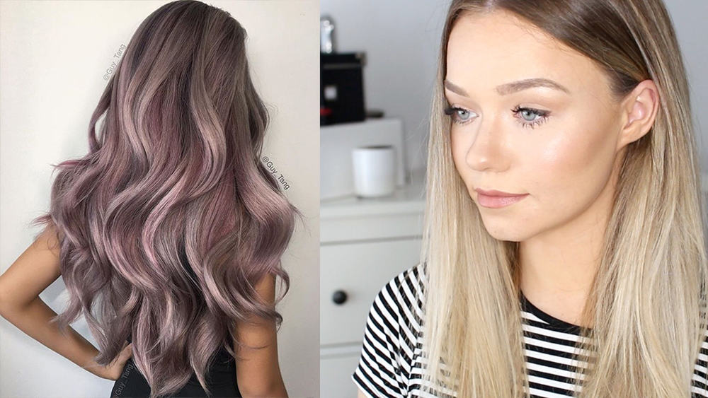 Pink-highlights-grown-roots-Hair-color- 2018-hair-color-ideas-2018-hair-dye-tips