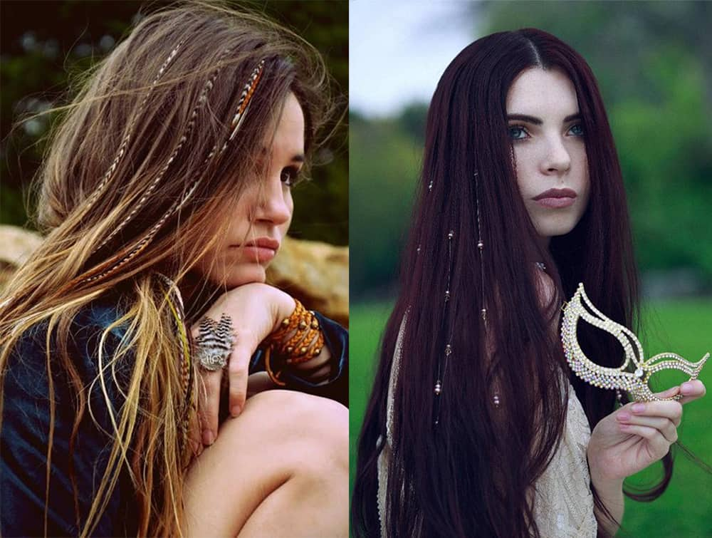 Boho hair extensions Valentines hairstyles