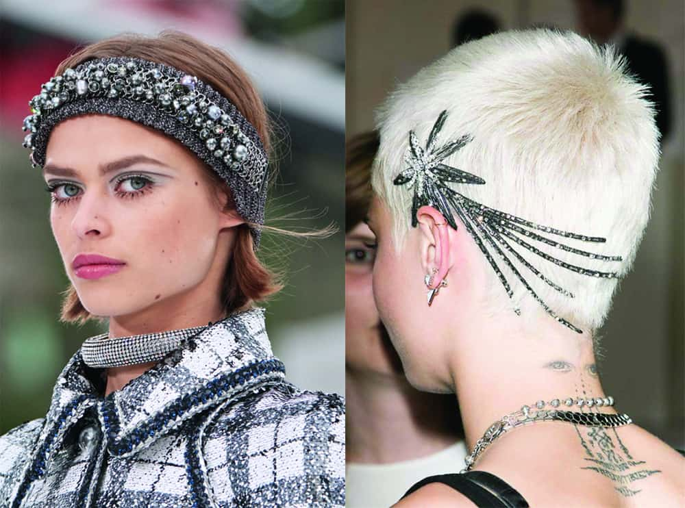 Chanel headband and jewelled party accessory short hair ideas