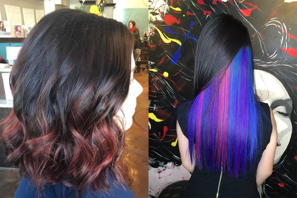 Color melting and hidden hair color trendy teenage hairstyles