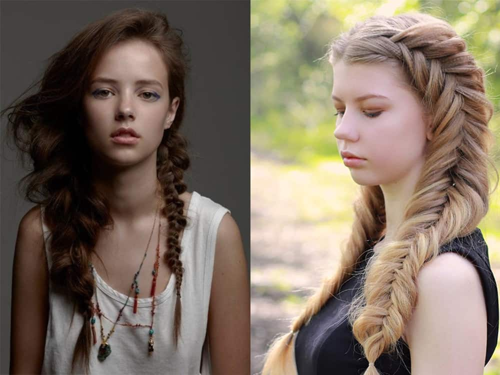 Different thickness and crimped texture for easy braid hairstyles