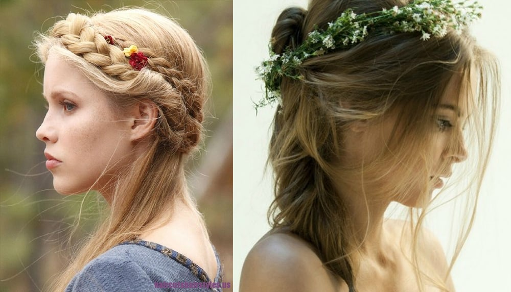 Flowers in Valentine's Day hairstyles