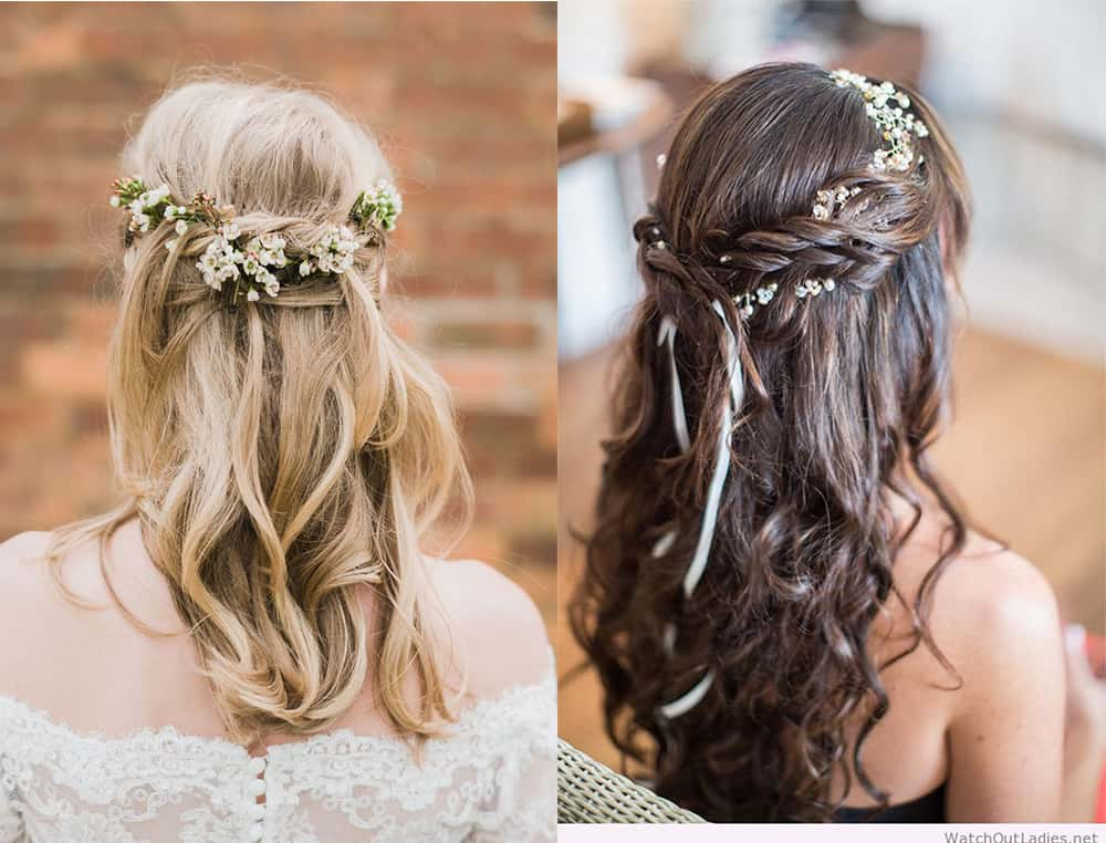 Flower wreaths bridesmaid hair