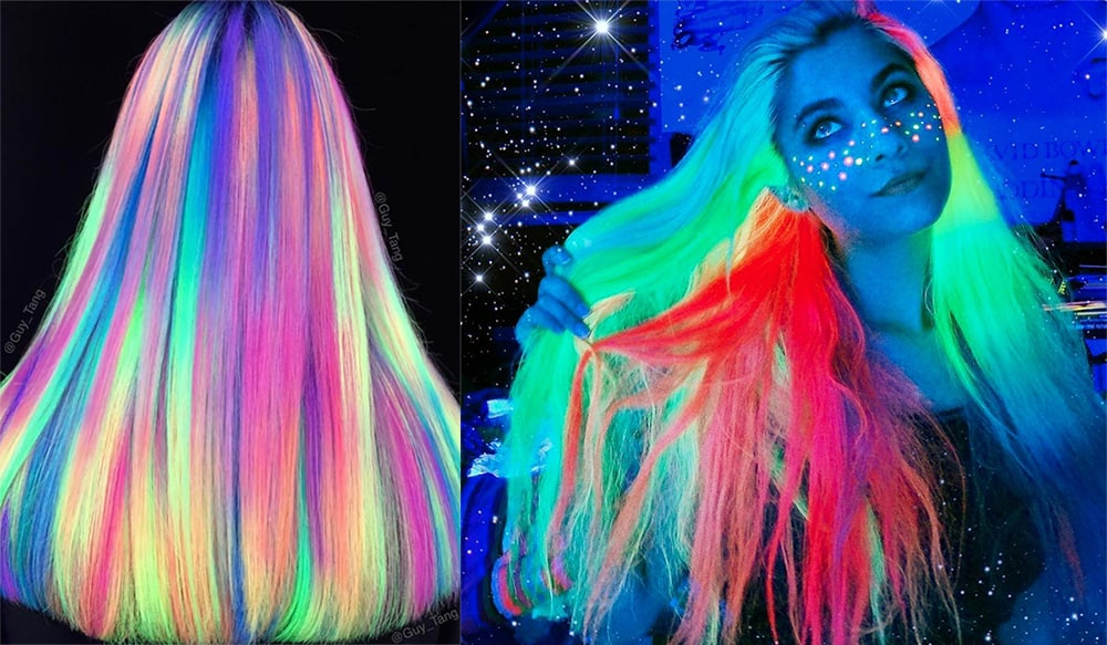Glow in dark dye for new year cool party hairstyles