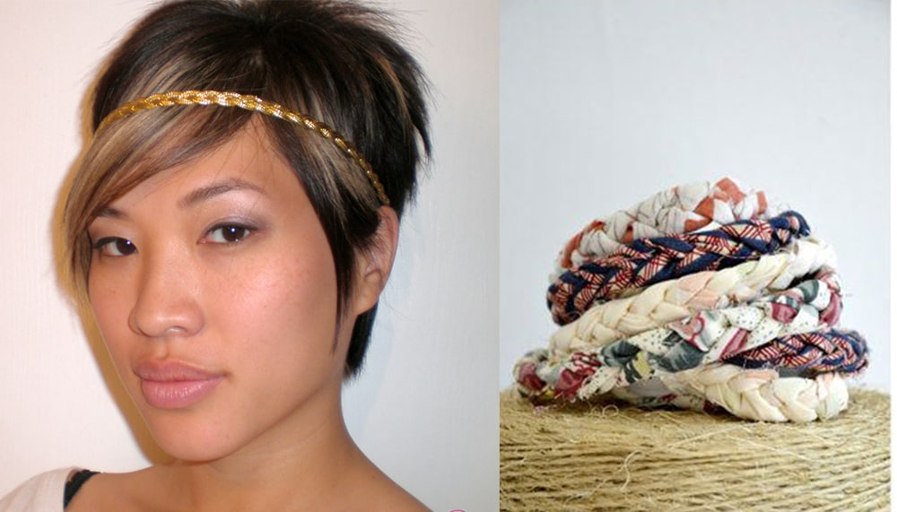 Hippie braided headbands handmade short hair ideas