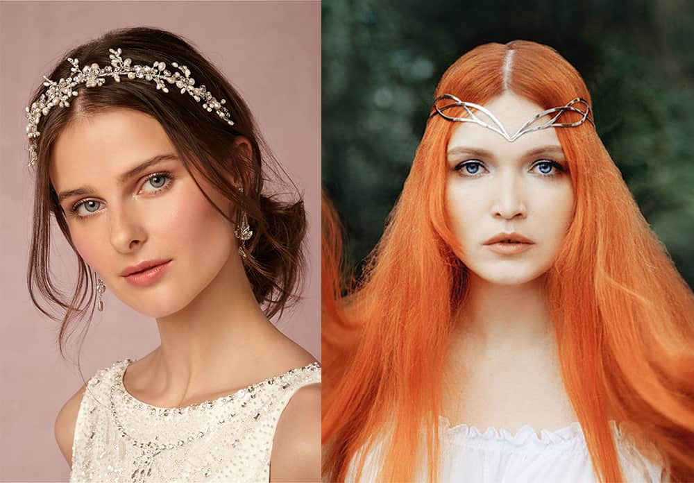 Jewelled tiara and fantasy diadem New Years hair