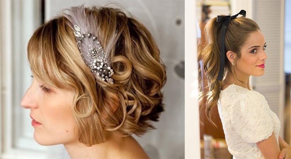Lace and ribbon bridesmaid hair
