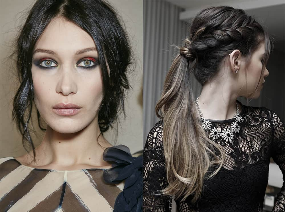 Messy up hair with braid long hair ideas