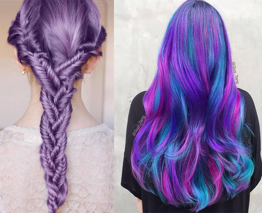 Trendiest purple dyeing color for new year cool party hairstyles
