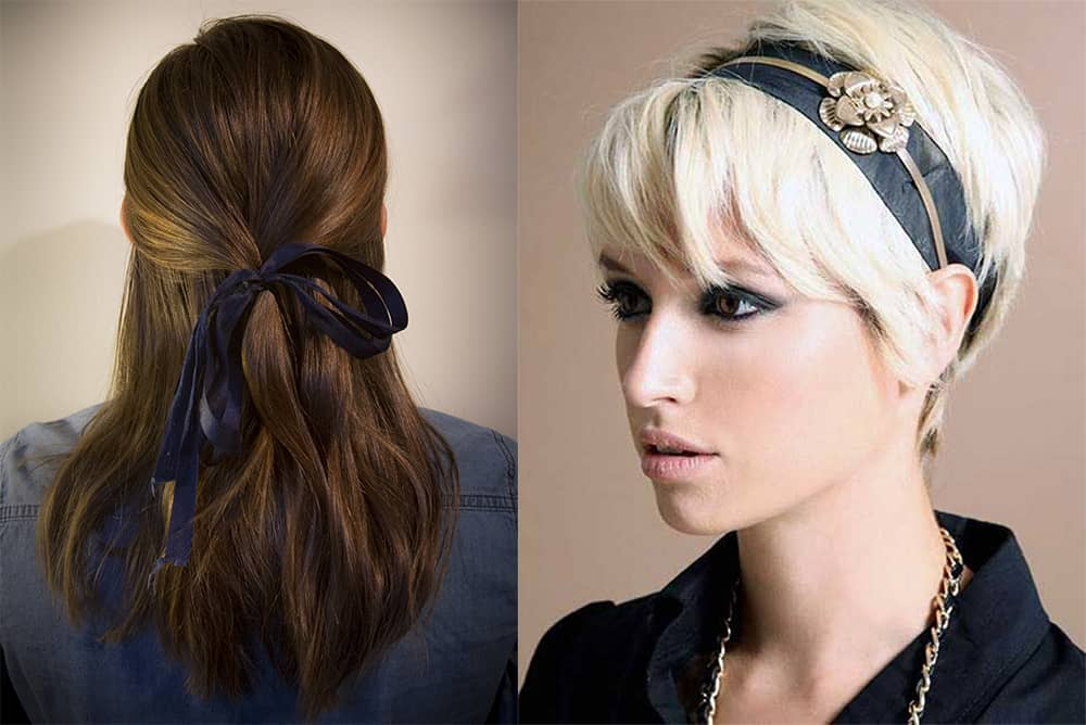 Ribbon and satin headband Valentine's Day hairstyles