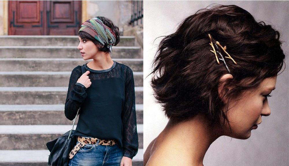 Scarf and bobby pins trend short hair ideas