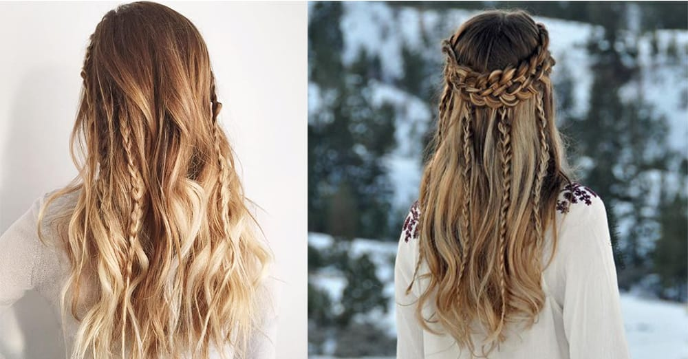 Boho style thin braids for women