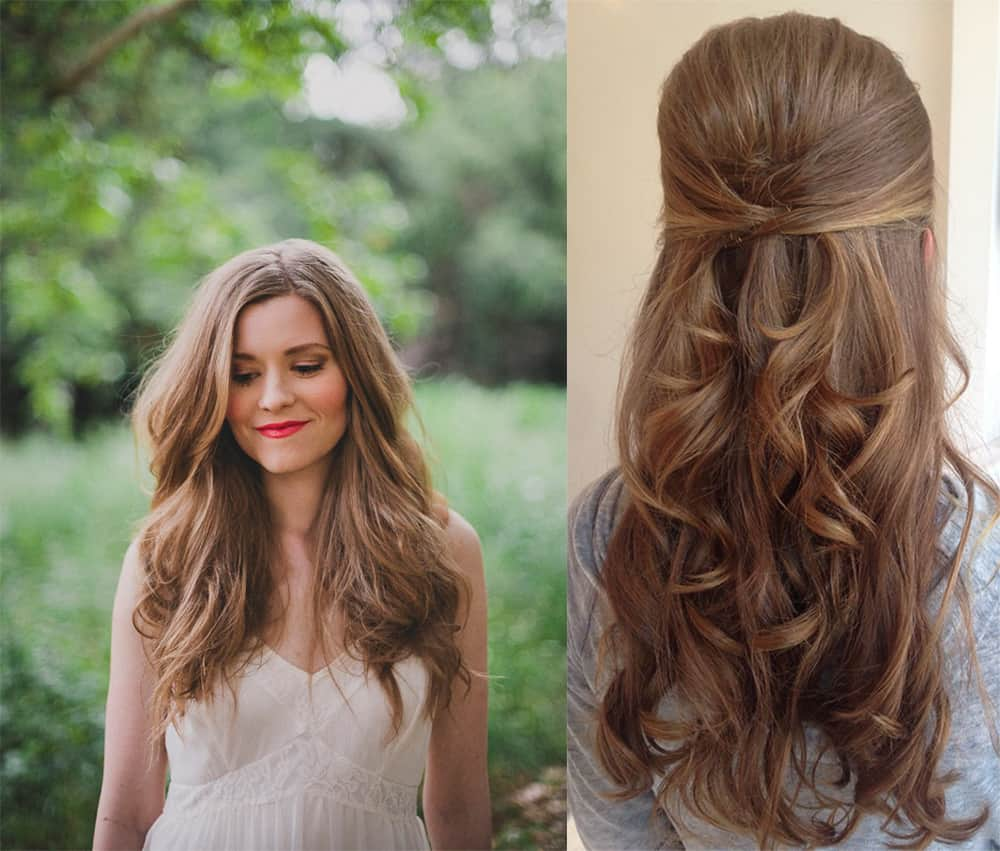 Waves and half-up Bridesmaid hairstyles 2018