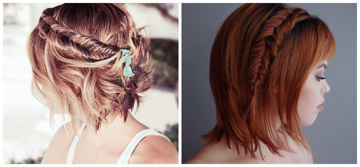 easy hairstyles for short hair, trendy fishtail for short hair