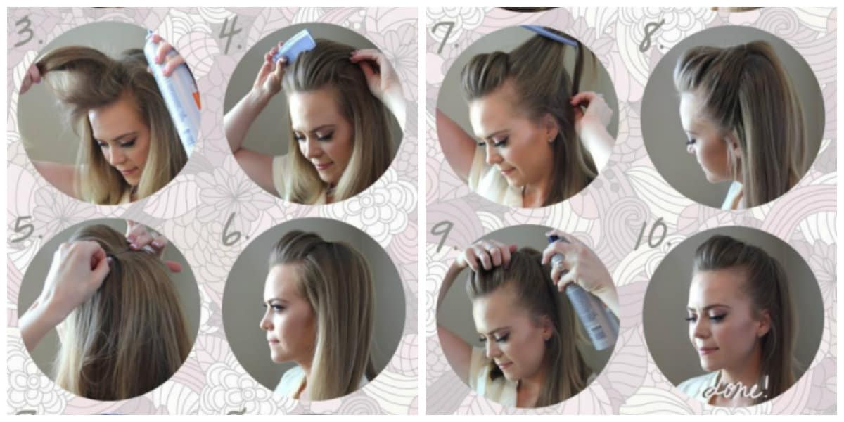 easy updos for medium hair, Madame Pompadour hairstyle for medium hair