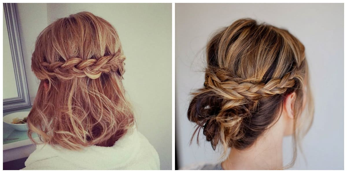 easy updos for medium hair, spit and braids for medium hairstyles