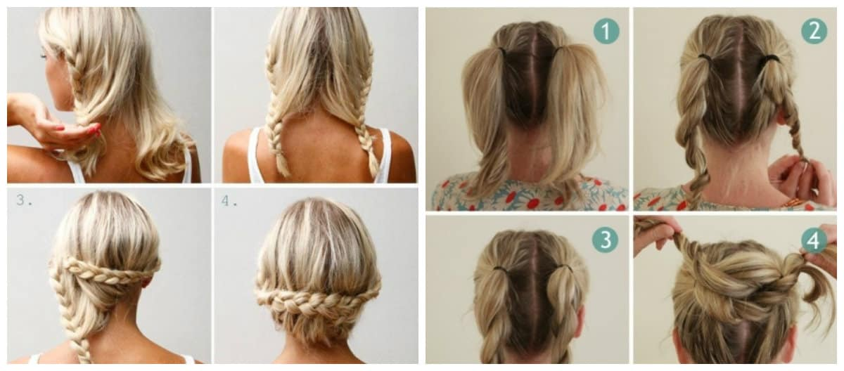 easy updos for medium hair, weaving of medium hair step by step