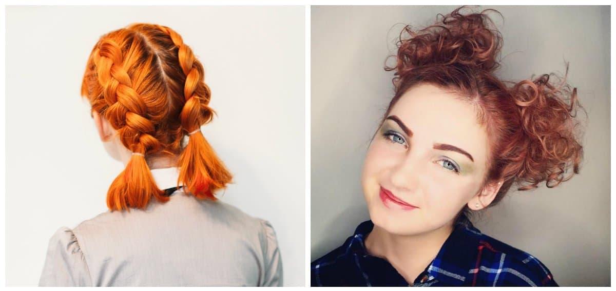 elegant hairstyles for short hair, stylish pigtails for short hair