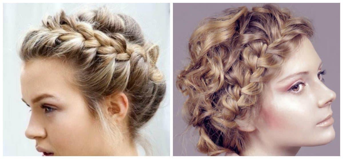 elegant hairstyles for short hair, stylish wreath of braids for short hair