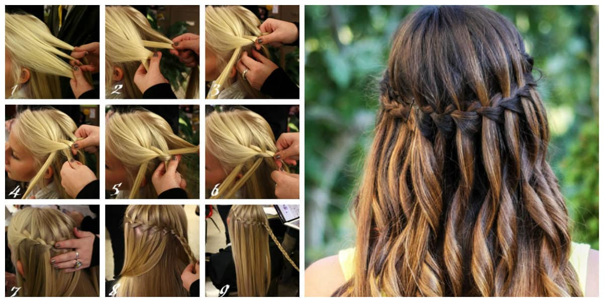 formal hairstyles for long hair, fashionable waterfall hairstyle