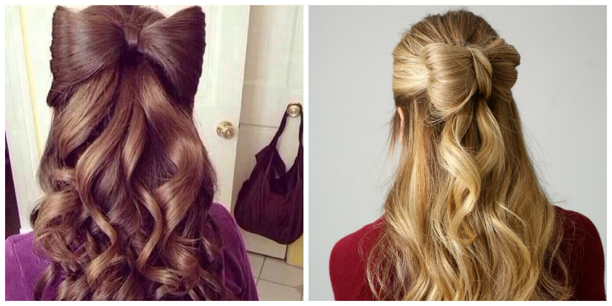 simple updos for long hair, fashionable bow from hair