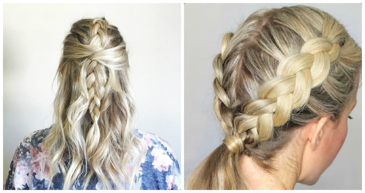simple updos for long hair, Stylish Dutch pigtail for long hair