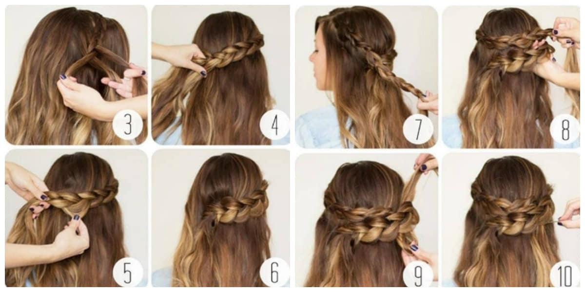 simple updos for long hair, stylish Dutch spit half-crown