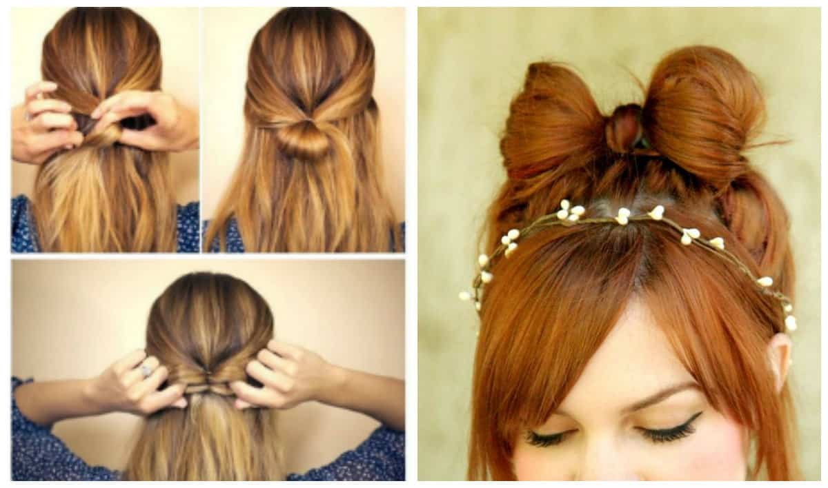 simple updos for long hair, stylish elegant bow for long hairstyle