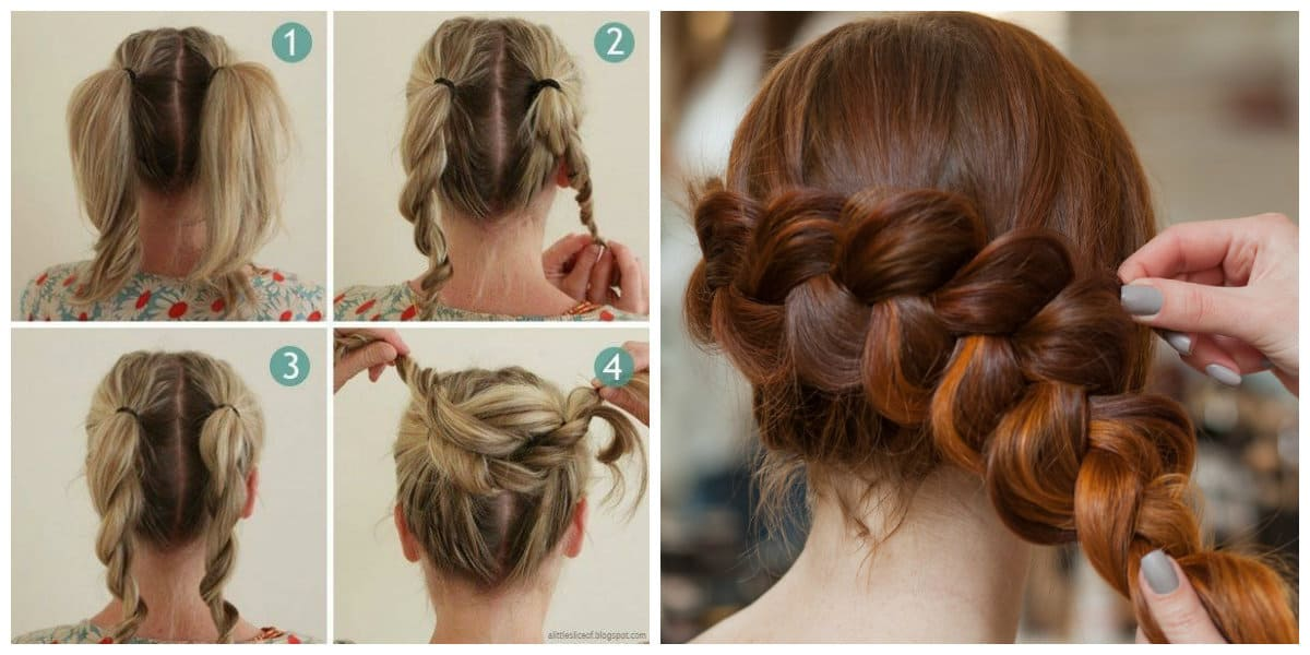 simple updos for long hair, twisted beam, french braid for long hair