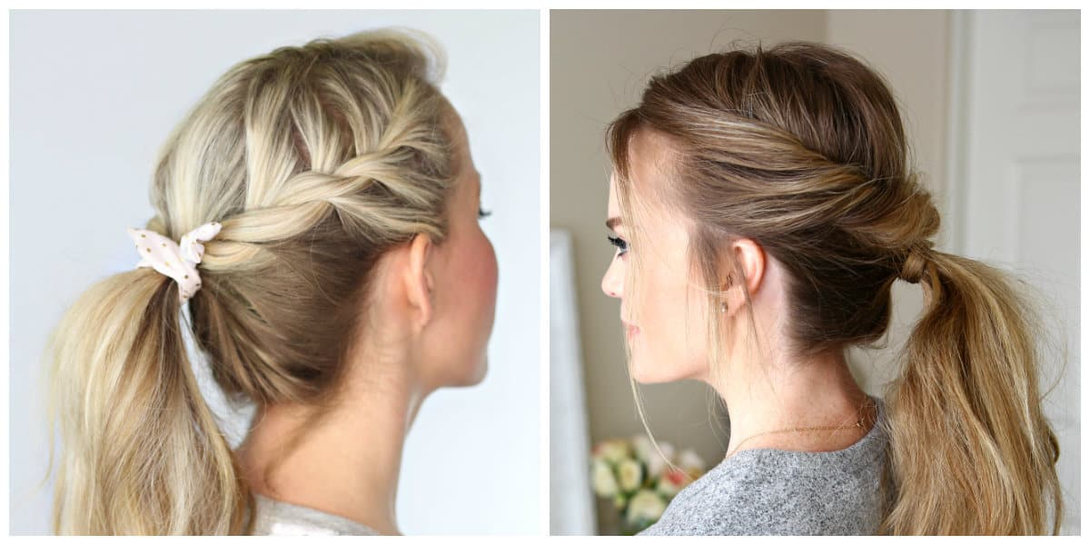 simple updos for long hair, stylish twisted ponytail