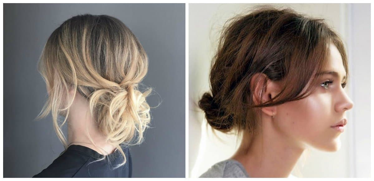 simple updos for short hair, fashionable bun on short hair