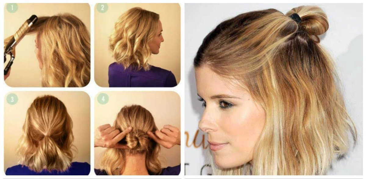 simple updos for short hair, stylish bun on short hair step by step