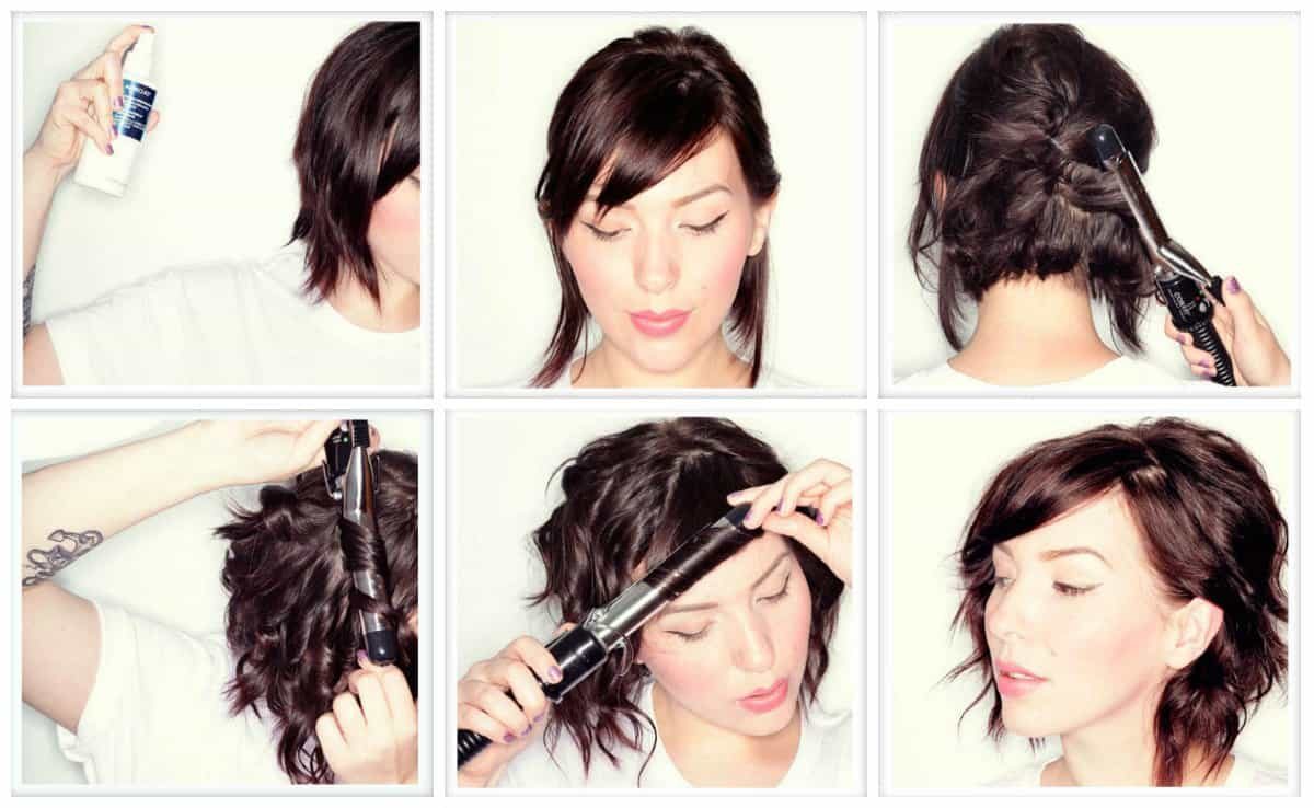 simple updos for short hair, charming curls for short hair step by step