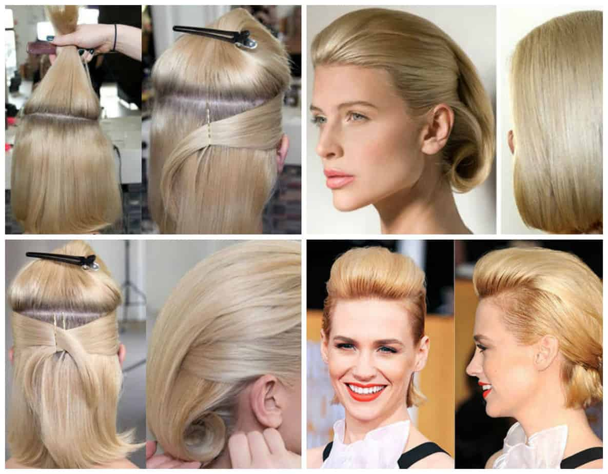 simple updos for short hair, smooth styling of short hair step by step