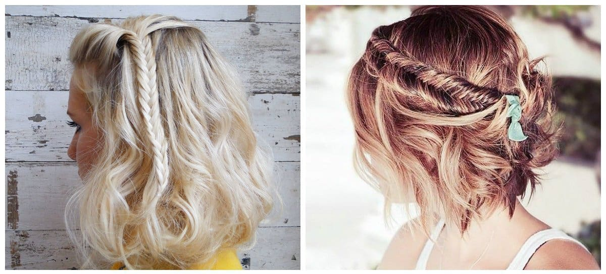 updo hairstyles for short hair, short hair with fish tail