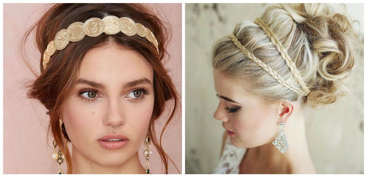 updo hairstyles for short hair, stylish Greek style hairstyle for short hair