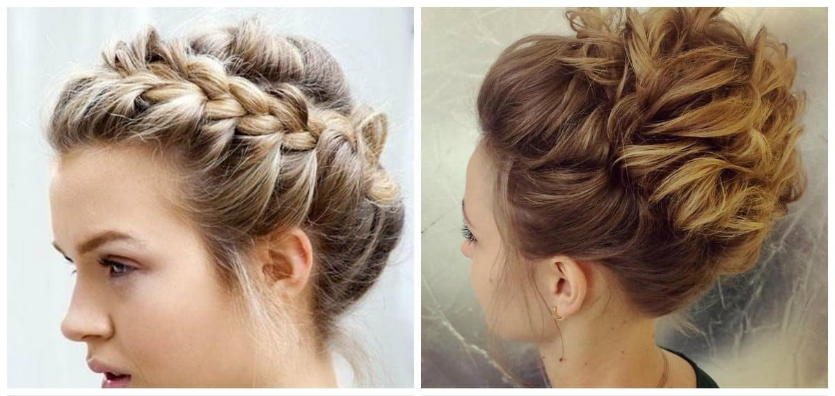 updo hairstyles for short hair, stylish spit hairstyle for short hair