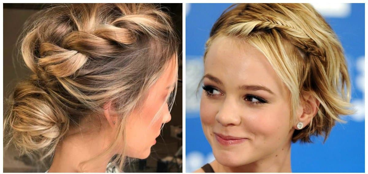 updo hairstyles for short hair, thin braids for short hair