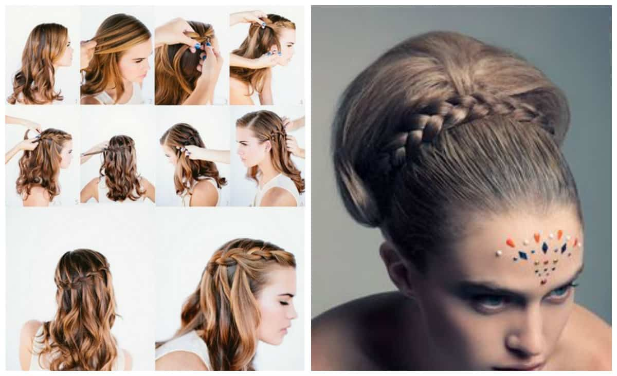 updos for long hair, stylish Babette hairstyle, waterfall hairstyle